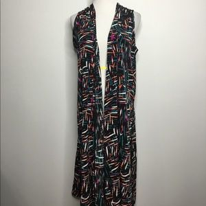 Abstract Print Black Long Vest